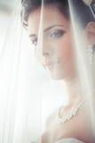 Ståenden av bruden med en skyla täckte framsidan Fotografering för Bildbyråer