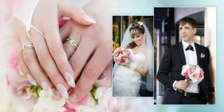 Ståenden av brudgummen och bruden med en bröllopbukett och händer med cirklar stänger sig upp Arkivbild