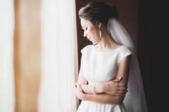 Ståenden av den härliga bruden med mode skyler på bröllopmorgonen royaltyfria foton