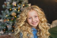 Ståenden av den härliga lilla flickan ler i jultid Royaltyfri Bild