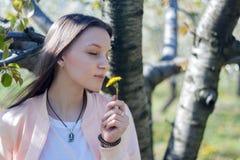 Ståenden av den härliga unga kvinnan, i att blomma för äppleträd, parkerar på en solig dag Le den lyckliga flickan för flicka let Arkivbild