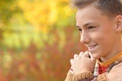 Ståenden av den lyckliga pojken i höst parkerar fotografering för bildbyråer