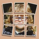 Ståenden av den roliga älskvärda lilla flickan i formatet av en collage på en hud tonade bakgrund abstrakt begrepp redigerar av l arkivbilder