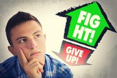 Ståenden av den stiliga tonåringen vände mot med val för ATT GE UPP eller till Fotografering för Bildbyråer