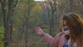 Ståenden av den unga caucasian lockig-haired kvinnan som går i soligt höstligt, parkerar och lyckligt upp kastar gula sidor lager videofilmer