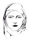 Ståenden av den unga islamiska kvinnan skyler in Royaltyfria Bilder