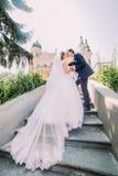 Ståenden av eleganta stilfulla unga brölloppar som kysser på trappa parkerar in Romantisk antik slott på bakgrund Royaltyfri Foto