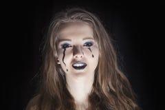 Ståenden av en flicka klädde för allhelgonaaftonberöm royaltyfri fotografi