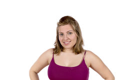 Nätt blonda kvinnaståendeuttryck Fotografering för Bildbyråer