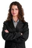 Affärskvinnan med beväpnar korsat Fotografering för Bildbyråer