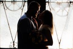 Ståenden av ett romantiskt par i ett panelljus från ett fönster eller gör Fotografering för Bildbyråer