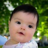 Ståenden av gulligt behandla som ett barn flickan med svart hår och ögat Arkivbild
