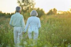 Ståenden av härliga höga par som kopplar av och poserar i sommaren, parkerar arkivbilder