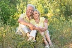 Ståenden av härliga höga par som kopplar av och poserar i sommaren, parkerar arkivfoton