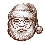 Ståenden av lyckliga Santa Claus, skissar Jul hälsningkort Tappningvektorillustration stock illustrationer