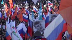 Ståendena på mars i minne av Boris Nemtsov arkivfilmer