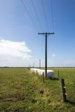 Ståendesikt av elektriska poler och trådar som fodrar med en serie av höbaler Arkivfoton
