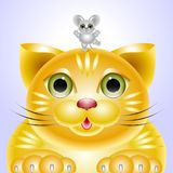 Ståendevänner - en katt och en mus Arkivfoto