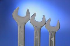 stål tre skiftnycklar Royaltyfri Bild