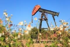 Stålar för olje- pump (sugorganet Rod Beam) i The Field Arkivfoto