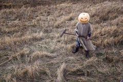 Stålar-lykta med en pumpa på hans head anseende i fältet Arkivfoto