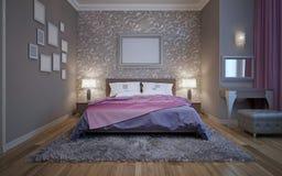 Stålgrå färger i modern design av sovrummet Royaltyfri Bild