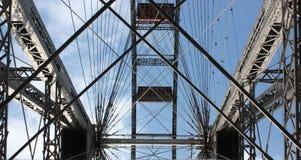 Stålkonstruktion av den berömda och historiska Ferris Wheel av Prater parkerar, Wien Arkivbilder