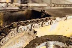 Stålkugghjulhjul med chain drev av en mobil plattformlastbil för bang Chain överföring Arkivbilder
