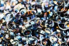 Stålmetallshavings industriell abstrakt bakgrund Arkivfoto