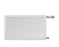 Stålpanelelement på vit bakgrund Elektroniskt termiskt huvud med en skärm Anslutning till rätsidan Royaltyfri Foto