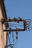 Stålram och elektriska isolatorer Royaltyfri Fotografi