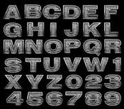 Stålsätta alfabetuppsättningen Arkivfoto
