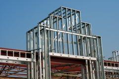 Stålsätta ramen för en lager- eller galleriaEntryway Arkivfoto
