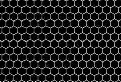 Stålsätta rastret med sexhörnigt spela golfboll i hål industriell seamless bakgrund Arkivfoton