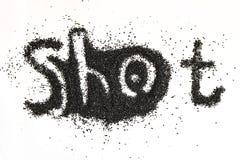 Stålskott för att spränga maskinen InskriftSKOTT på en vit yttersida fotografering för bildbyråer
