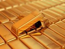 Stång av guld Fotografering för Bildbyråer