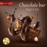 Stång för söt choklad med spiral smältt choklad vektor illustrationer