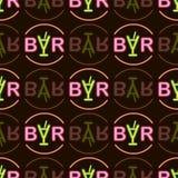 Stång för text för abstrakt neon för vektor ljus på sömlös modell för svart bakgrund stock illustrationer