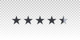 Stång för värdering för vektorformstjärna som isoleras på genomskinlig bakgrund Beståndsdel för design din website eller app Royaltyfri Bild