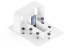 Stång kafé, kafeteria, snabbmatinrebegrepp framförande 3d vektor illustrationer