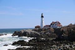 Stånghamn Maine Lighthouse, på som han stöttar Royaltyfri Foto