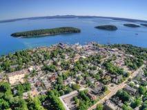 Stånghamnen är en turist- stad på Maine Coast av Acadianationen royaltyfri foto