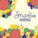 Stångkort, sommarkafé, meny, färgrikt som är saftig, fruktgarnering, tecknad film royaltyfri illustrationer