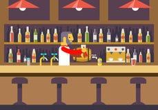 Stångrestaurangkafé med barkeeperen Character royaltyfri illustrationer