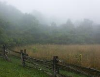 Stångstaket och fält i dimma arkivbild