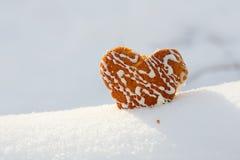 Står den härlig ljusbrun hjärta formade kakan med isläggning i snö Arkivfoto