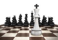 Står den vita konungen för det vinnande begreppet på en schackbrädeförgrundsintelligens royaltyfri illustrationer