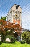 Står hög med en gammal klocka i Lucerne Arkivfoto