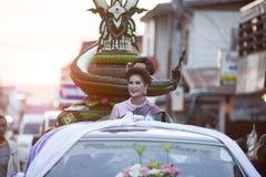 Ståta av Loy Kratong Festival Thailand Arkivbild