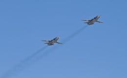 Ståta av militära utrymmestyrkor för militärt flyg av Ryssland Arkivbild